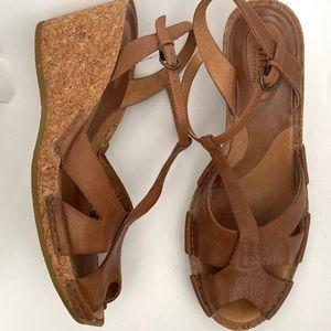 Clark's Artisan Leather Sandal Wedges Size 9